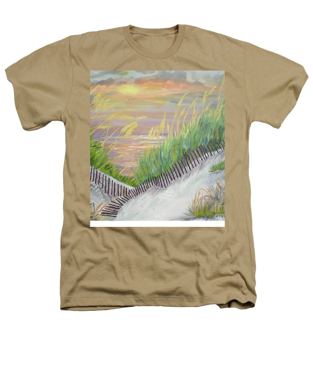 Seascape Heathers T-Shirt featuring the painting Sea Oats by Hal Newhouser