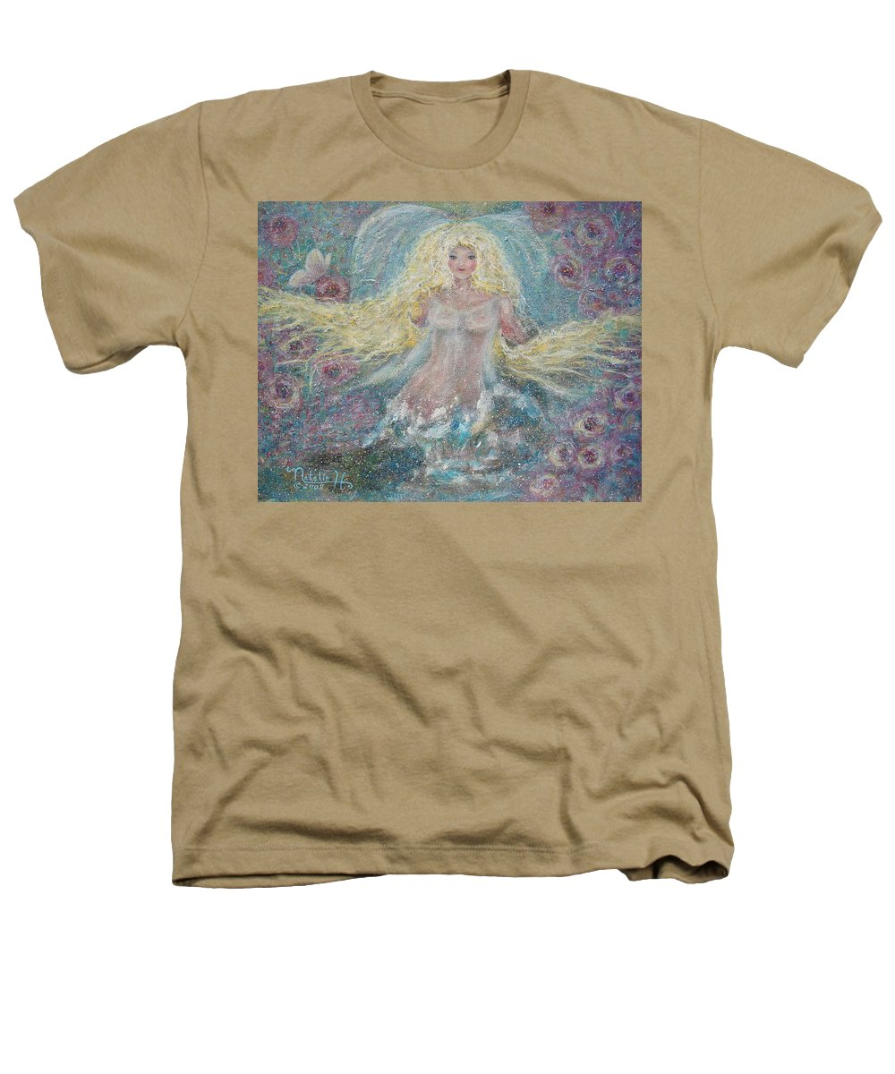 Angel Heathers T-Shirt featuring the painting Secret Garden Angel 3 by Natalie Holland