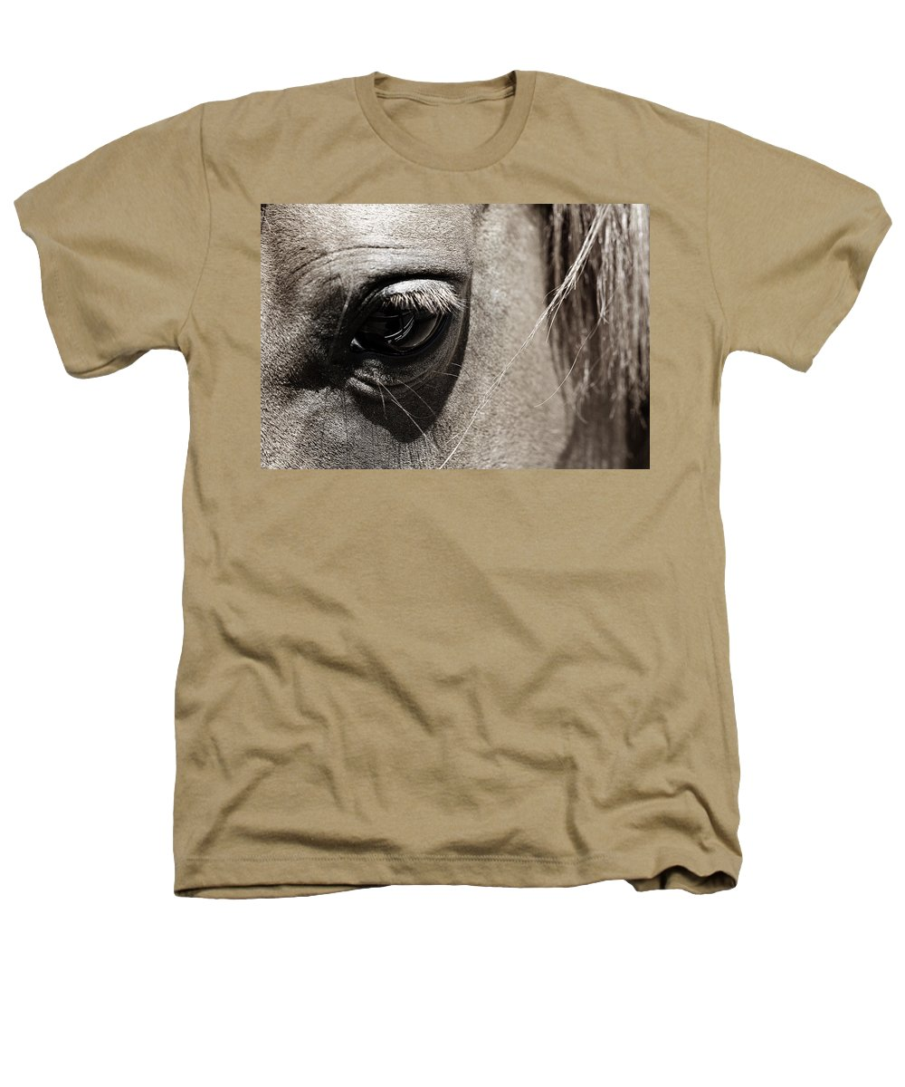 Americana Heathers T-Shirt featuring the photograph Stillness In The Eye Of A Horse by Marilyn Hunt