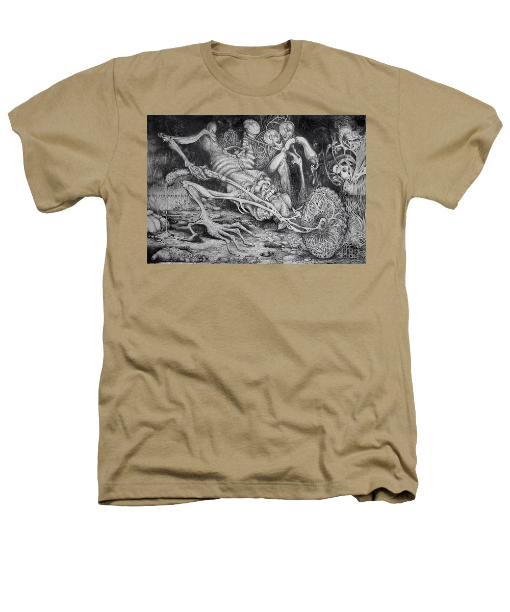 Surrealism Heathers T-Shirt featuring the drawing Selfpropelled Beastie Seeder by Otto Rapp