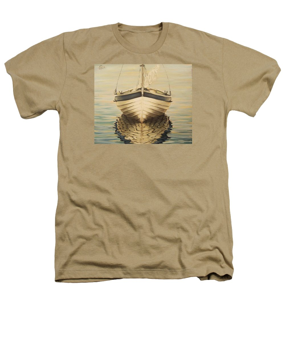 Seascape Heathers T-Shirt featuring the painting Serenity by Natalia Tejera