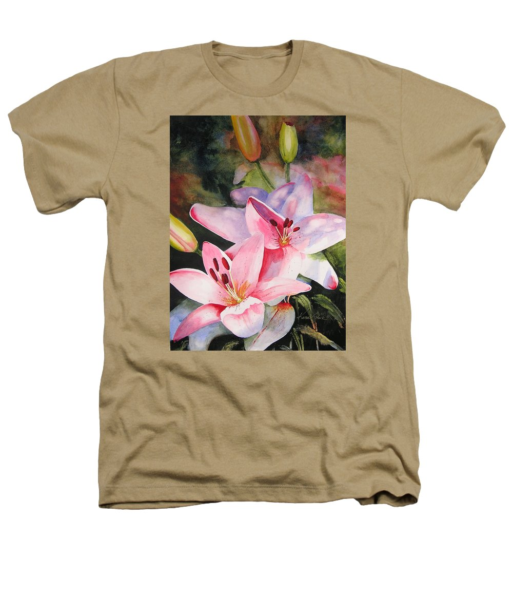 Lilies Heathers T-Shirt featuring the painting Shady Ladies by Karen Stark