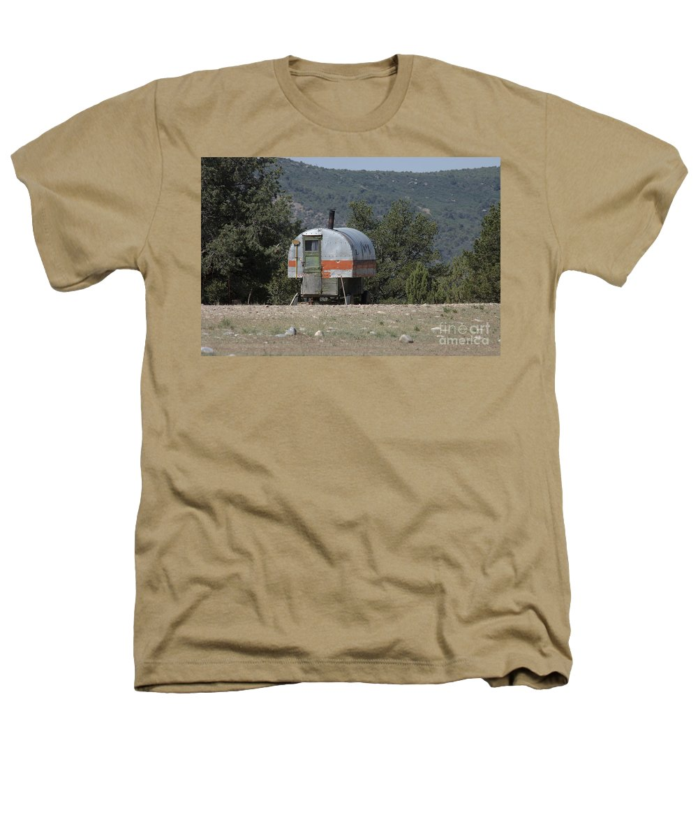 Sheep Heathers T-Shirt featuring the photograph Sheep Herder's Wagon by Jerry McElroy