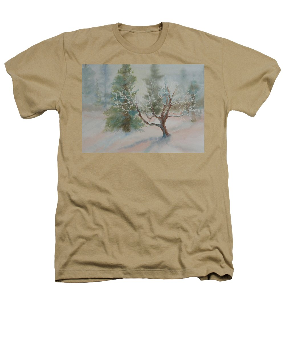 Snow Heathers T-Shirt featuring the painting Silence by Ruth Kamenev