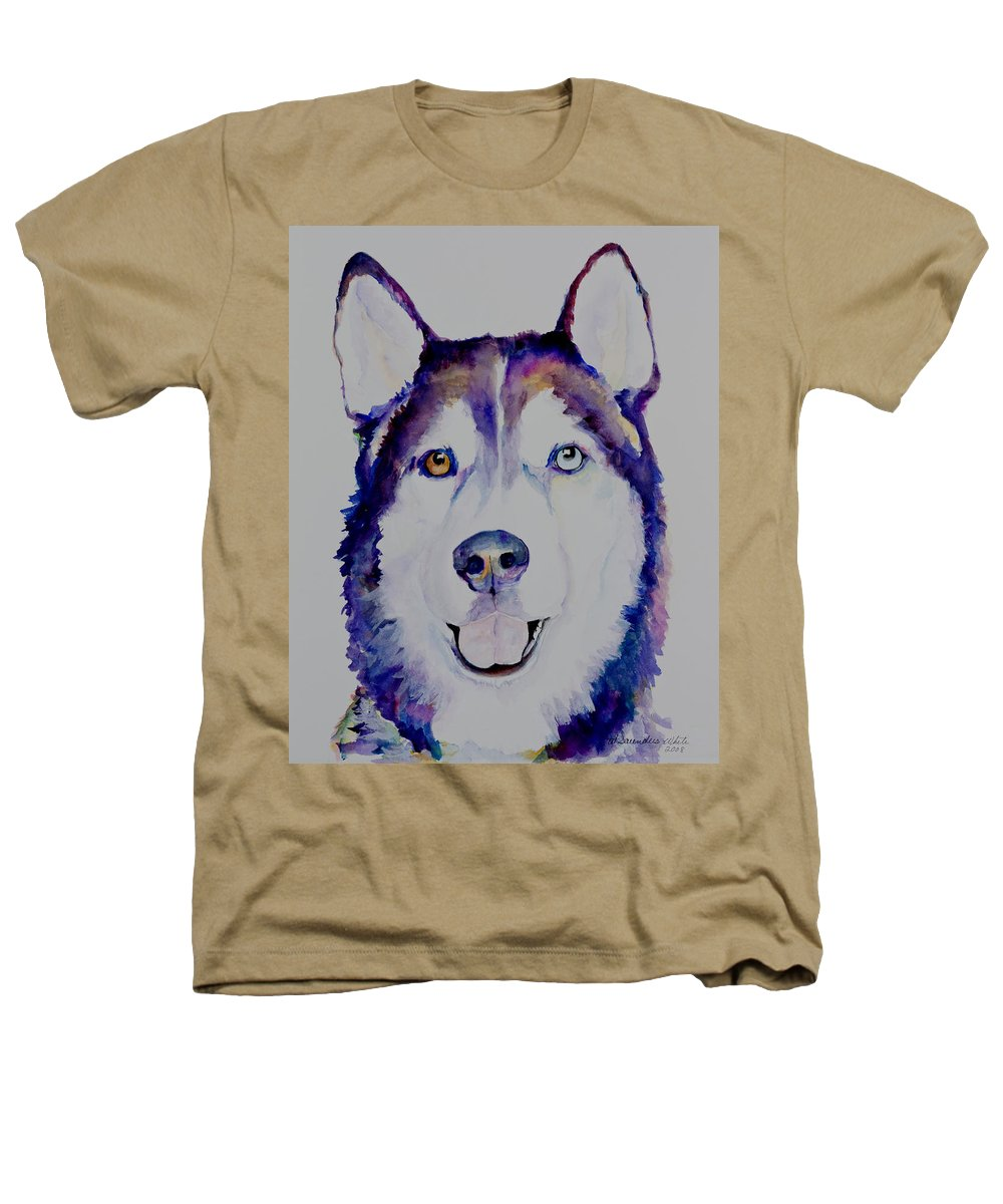 Siberian Husky Heathers T-Shirt featuring the painting Simba by Pat Saunders-White