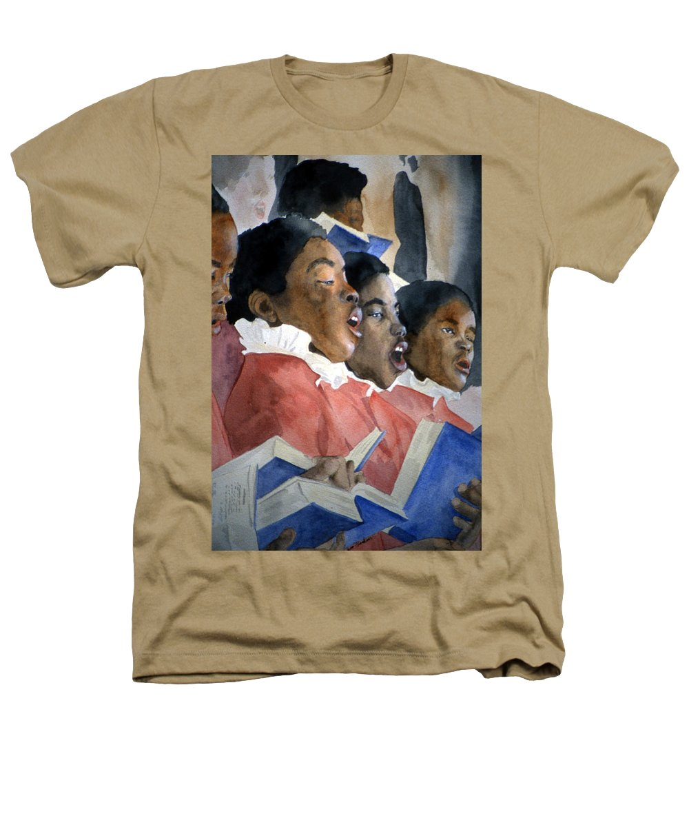 Choir Heathers T-Shirt featuring the painting Sing Out Your Joy by Jean Blackmer