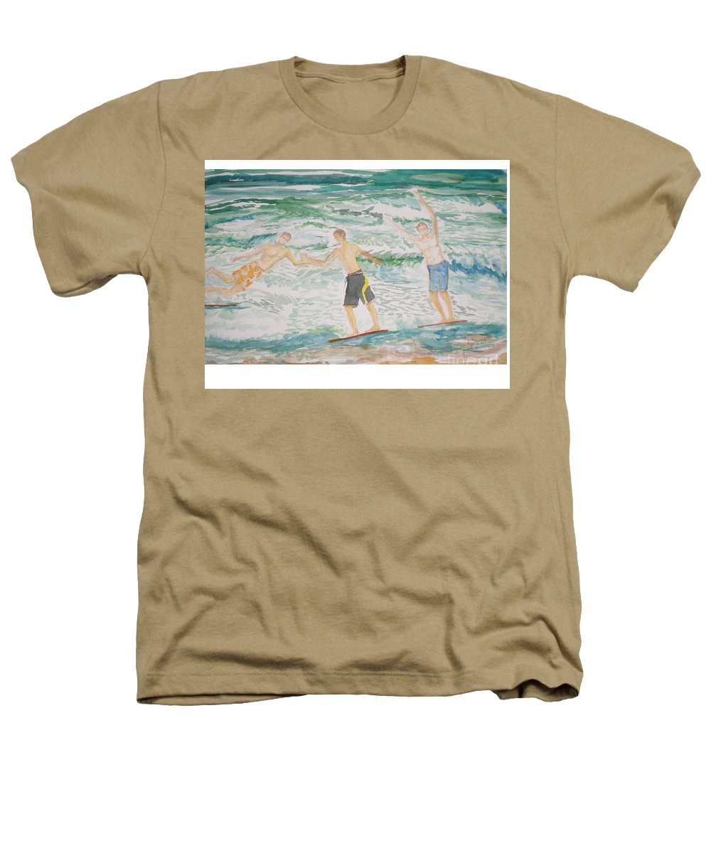 Seascape Heathers T-Shirt featuring the painting Skim Boarding Daytona Beach by Hal Newhouser