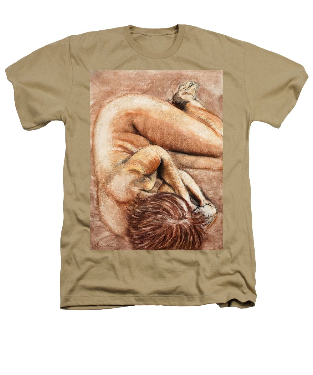 Nude Heathers T-Shirt featuring the drawing Slumber Pose by Kerryn Madsen-Pietsch