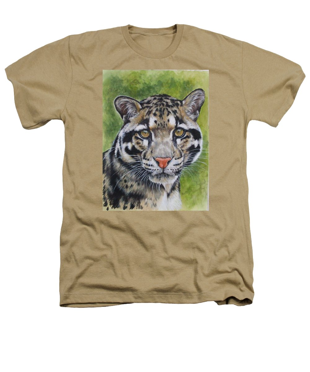 Clouded Leopard Heathers T-Shirt featuring the mixed media Small But Powerful by Barbara Keith