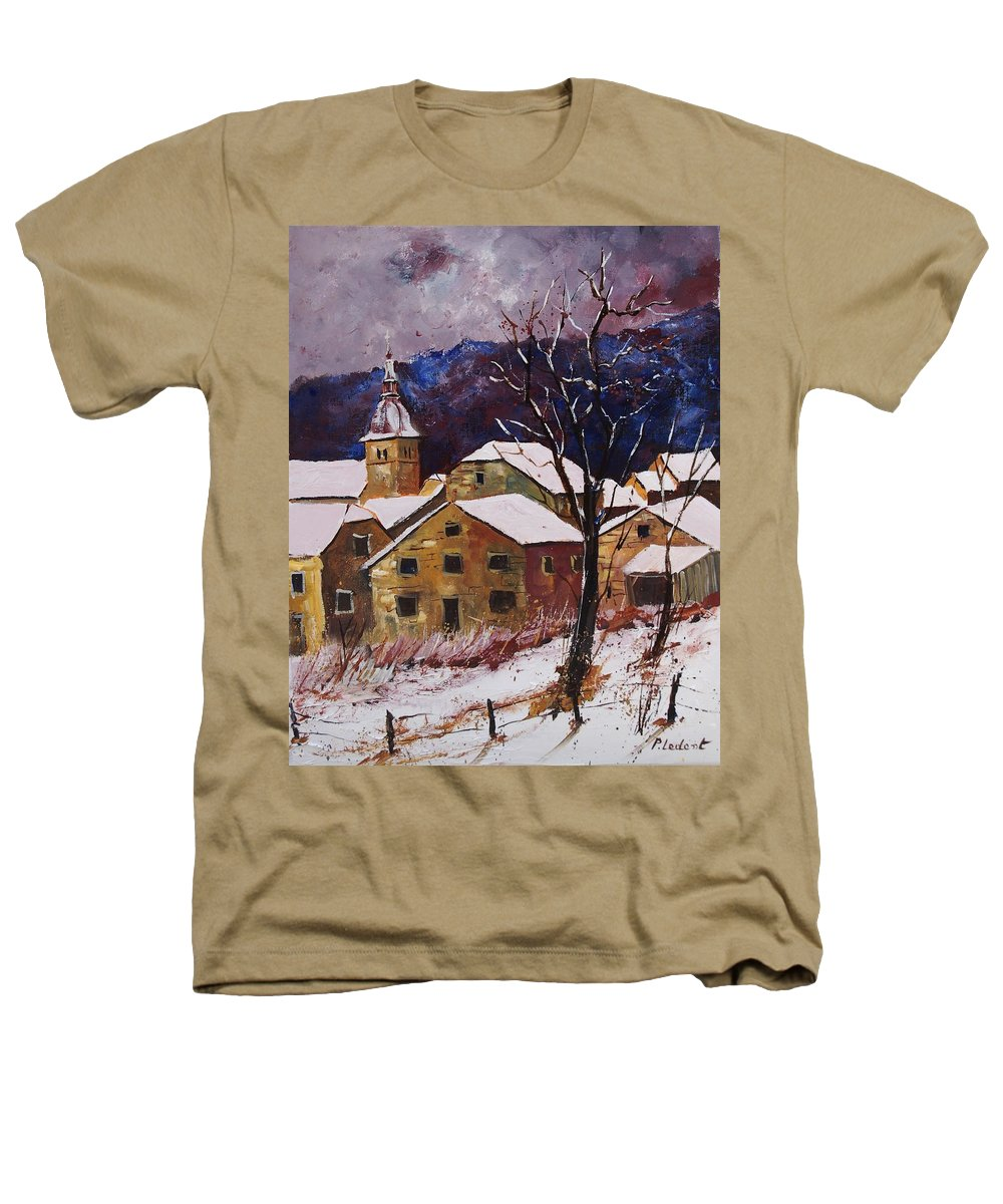 Landscape Heathers T-Shirt featuring the painting Snow In Chassepierre by Pol Ledent
