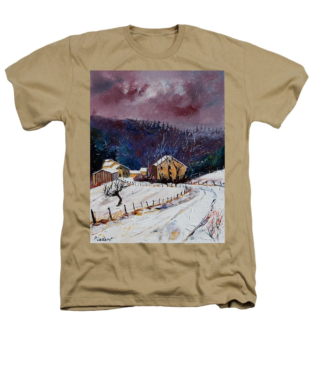 Landscape Heathers T-Shirt featuring the painting Snow In Sechery by Pol Ledent