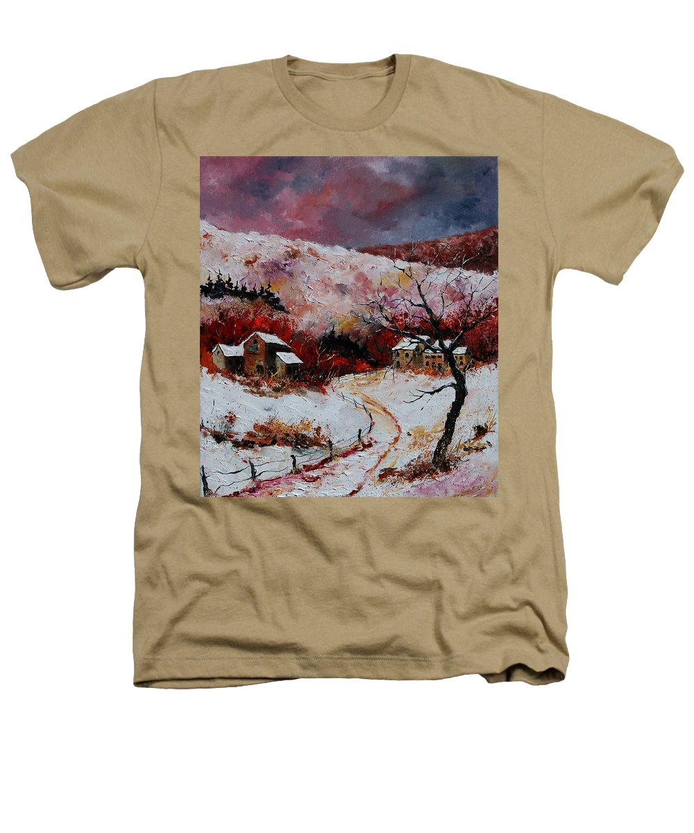 Snow Heathers T-Shirt featuring the painting Snow In The Ardennes 78 by Pol Ledent