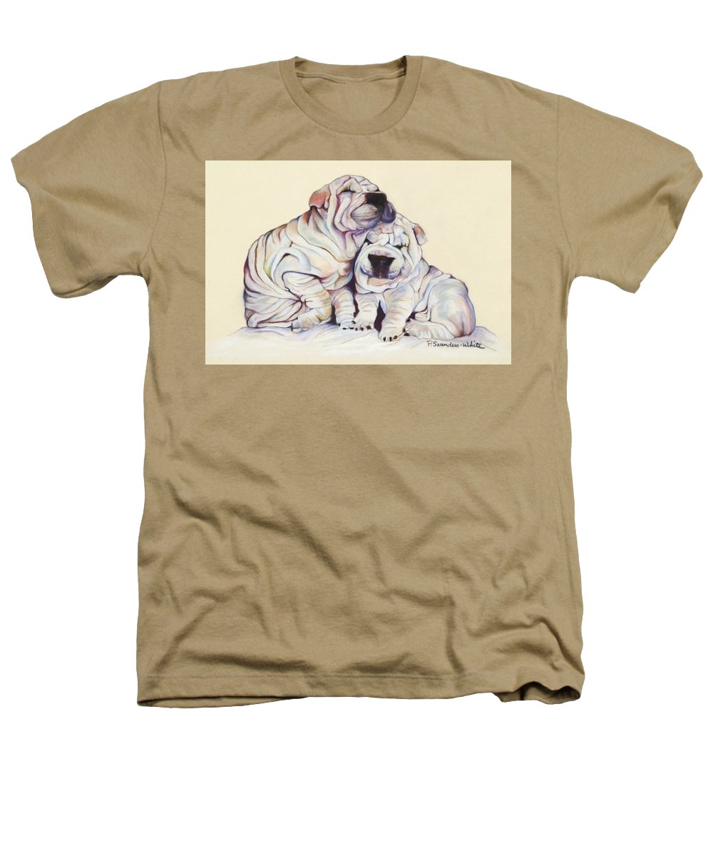 Dog Painting Heathers T-Shirt featuring the pastel Snuggles by Pat Saunders-White