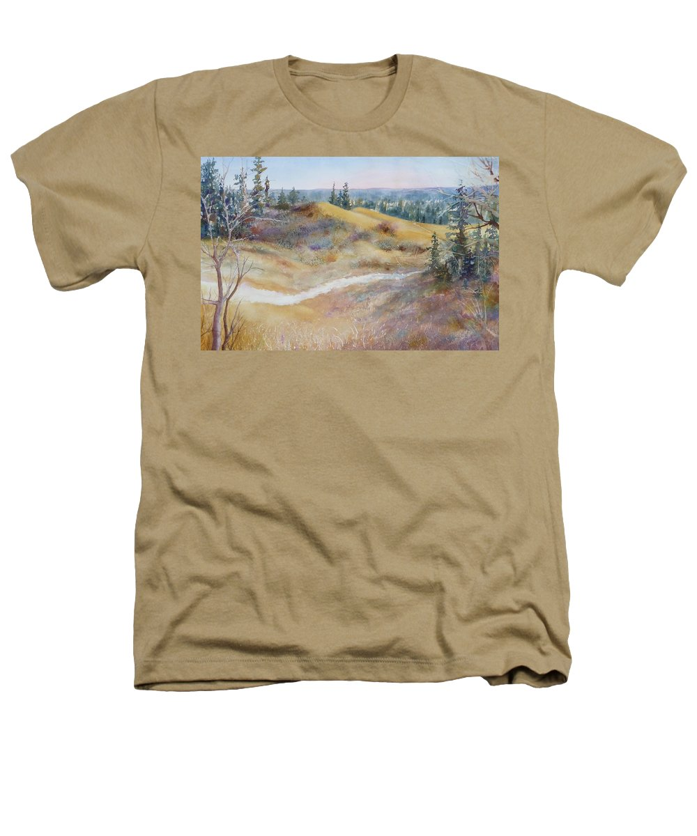 Landscape Heathers T-Shirt featuring the painting Spirit Sands by Ruth Kamenev