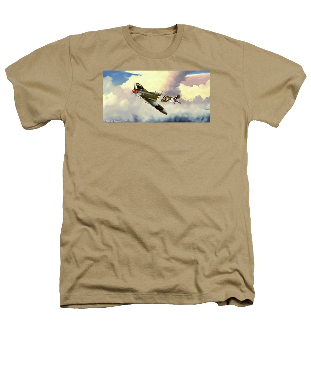 Military Heathers T-Shirt featuring the painting Spitfire by Marc Stewart