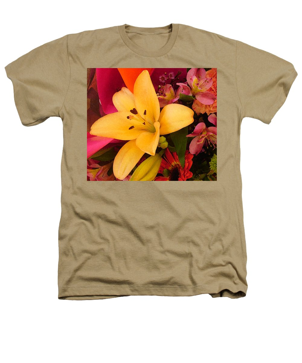 Lily Heathers T-Shirt featuring the painting Spring Lily Bouquet by Amy Vangsgard