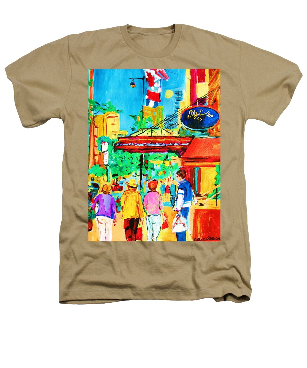 Paintings Of The Ritz Carlton On Sherbrooke Street Montreal Art Heathers T-Shirt featuring the painting Springtime Stroll by Carole Spandau