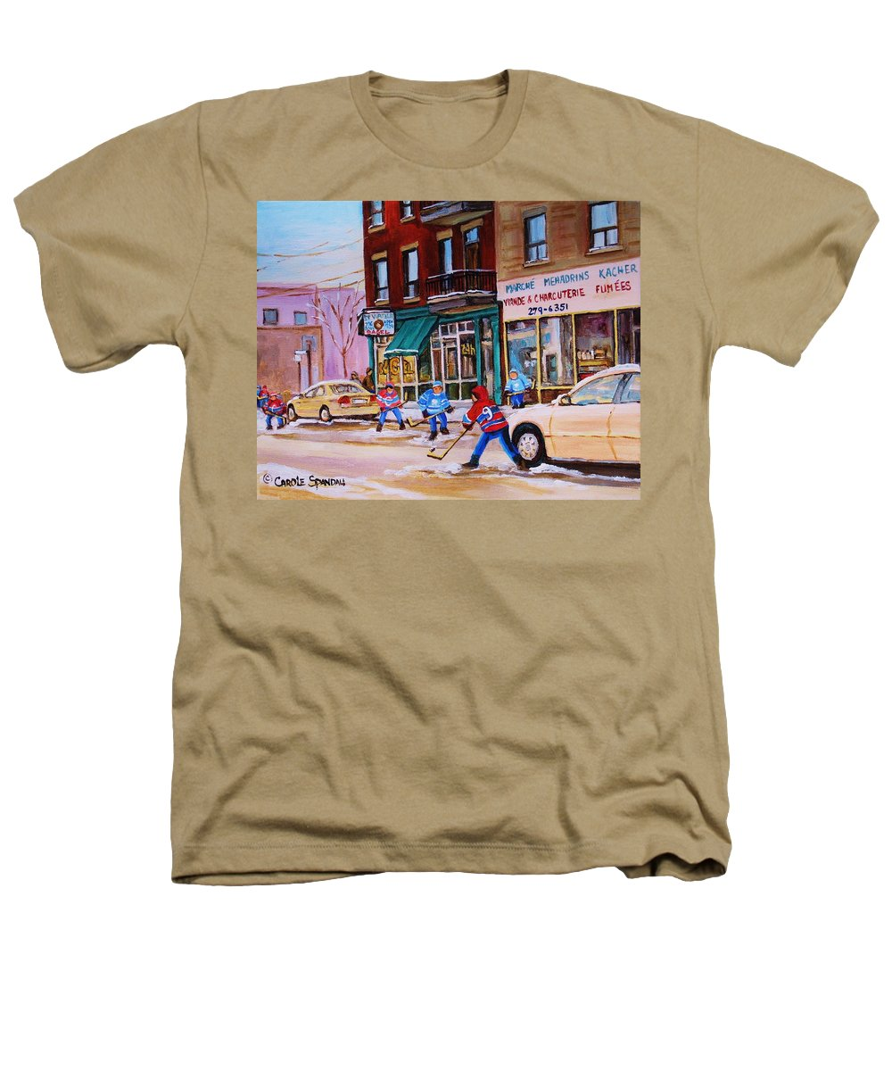 Montreal Heathers T-Shirt featuring the painting St. Viateur Bagel With Boys Playing Hockey by Carole Spandau