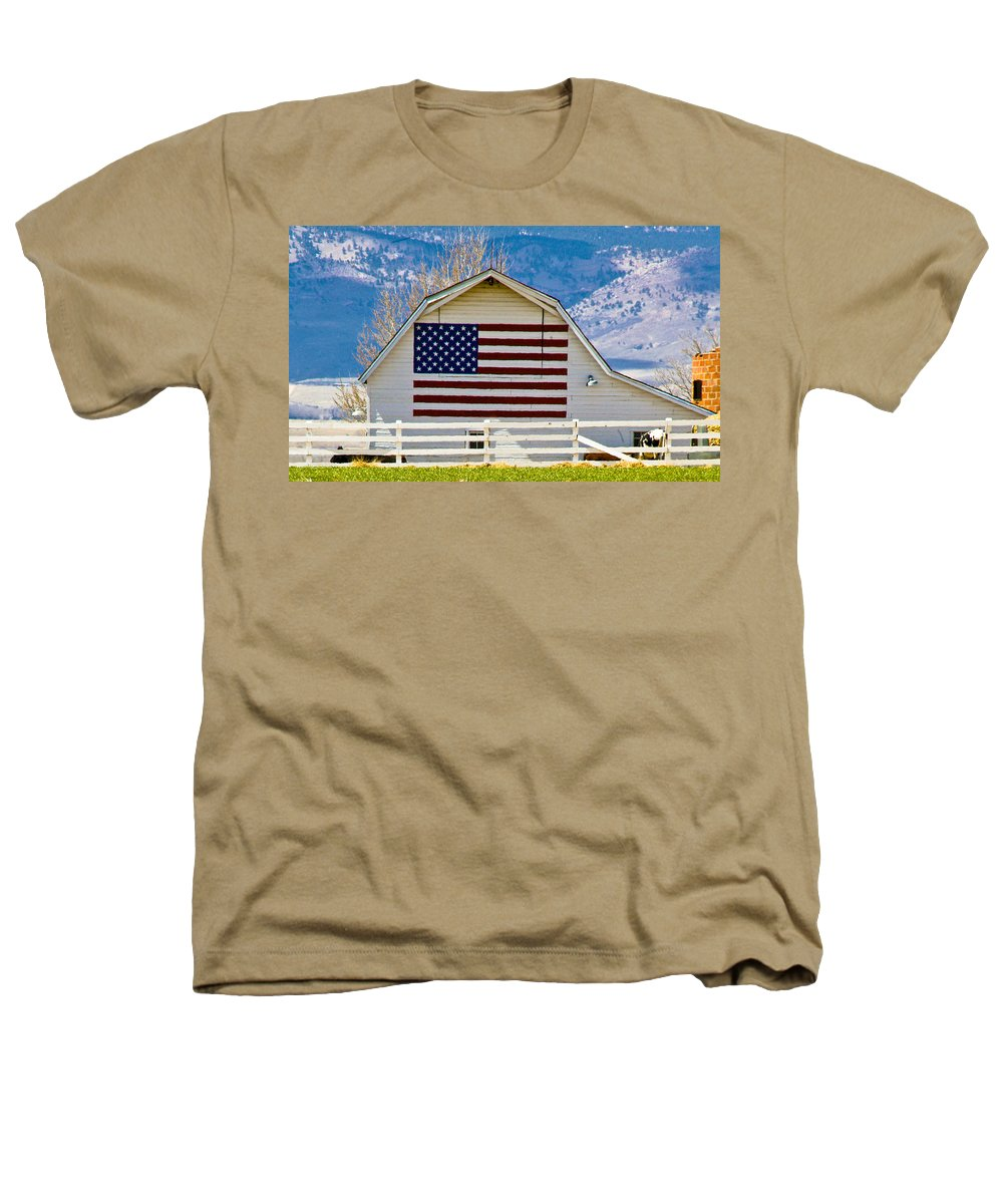 Barn Heathers T-Shirt featuring the photograph Stars Stripes And Barns by Marilyn Hunt