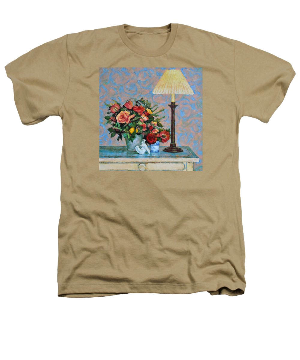 Flowers Heathers T-Shirt featuring the painting Still Life With A Lamp by Iliyan Bozhanov