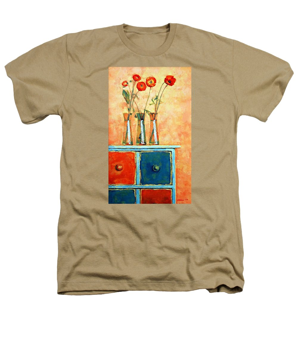 Poppies Heathers T-Shirt featuring the painting Still Life With Poppies by Iliyan Bozhanov