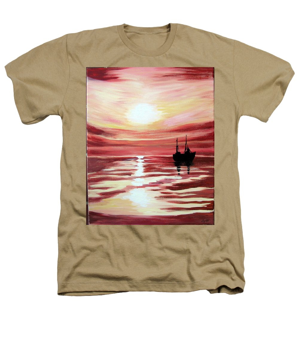 Seascape Heathers T-Shirt featuring the painting Still Waters Run Deep by Marco Morales