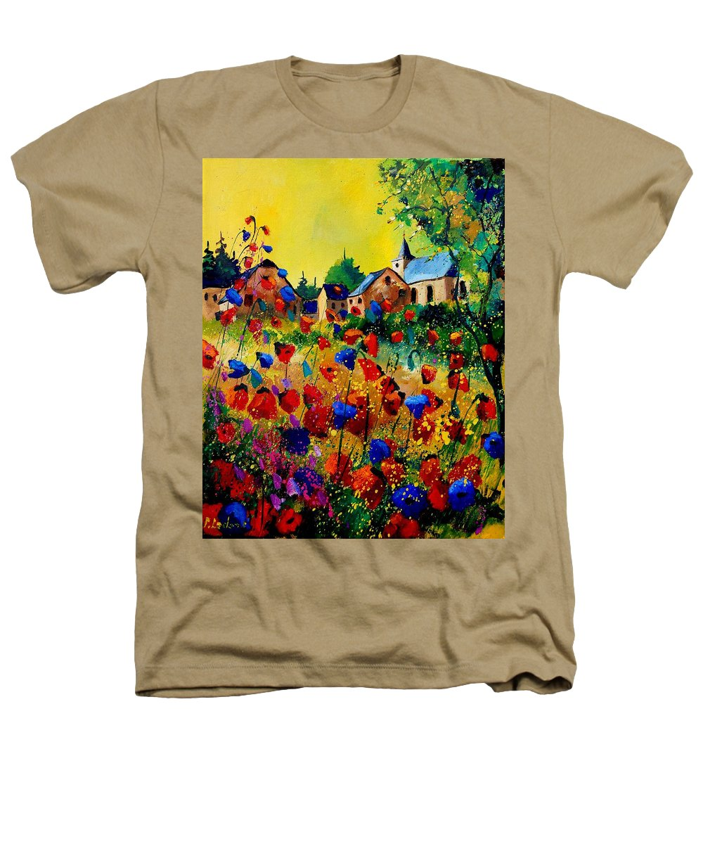 Poppy Heathers T-Shirt featuring the painting Summer In Sosoye by Pol Ledent
