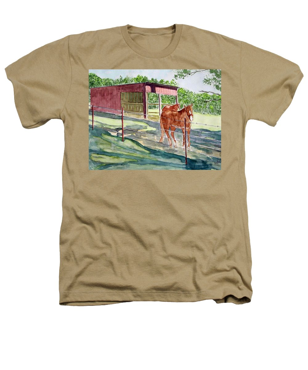 Horse Art Heathers T-Shirt featuring the painting Summer Shade by Larry Wright