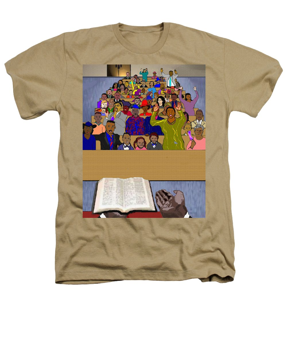 Sermon Heathers T-Shirt featuring the painting Sunday Sermon by Pharris Art