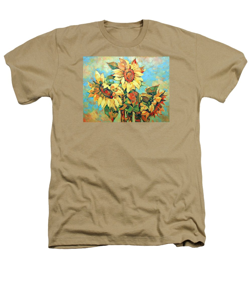 Sunflowers Heathers T-Shirt featuring the painting Sunflowers by Iliyan Bozhanov