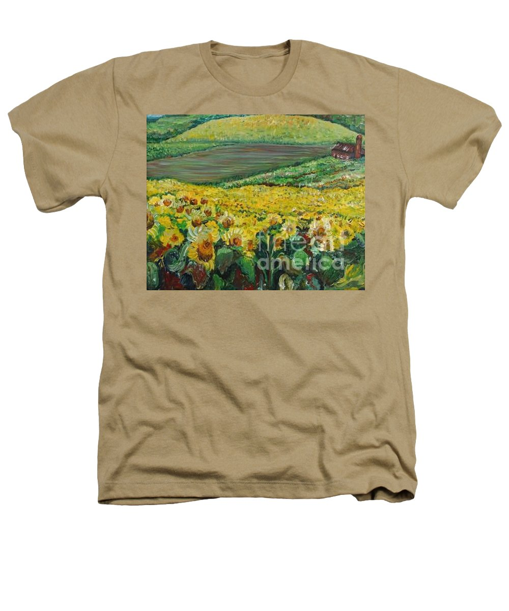 A Field Of Yellow Sunflowers Heathers T-Shirt featuring the painting Sunflowers In Provence by Nadine Rippelmeyer