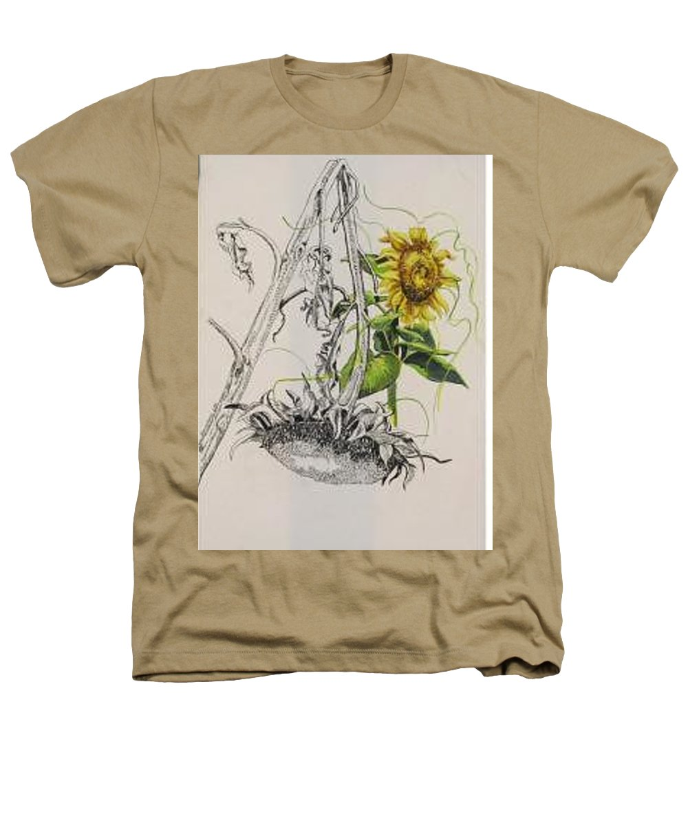 Large Sunflowers Featured Heathers T-Shirt featuring the painting Sunflowers by Wanda Dansereau