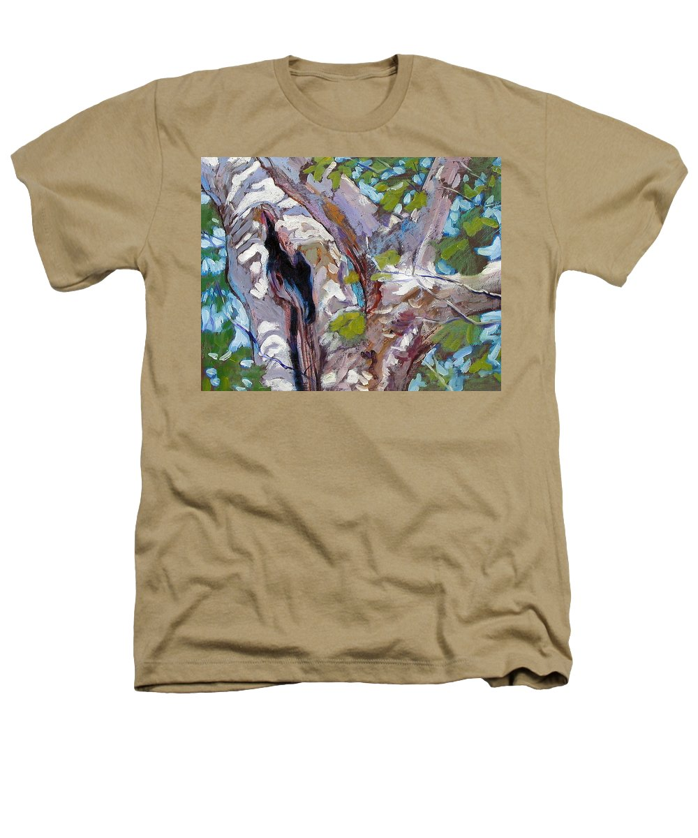 Tree Heathers T-Shirt featuring the painting Sunlight On Sycamore by John Lautermilch