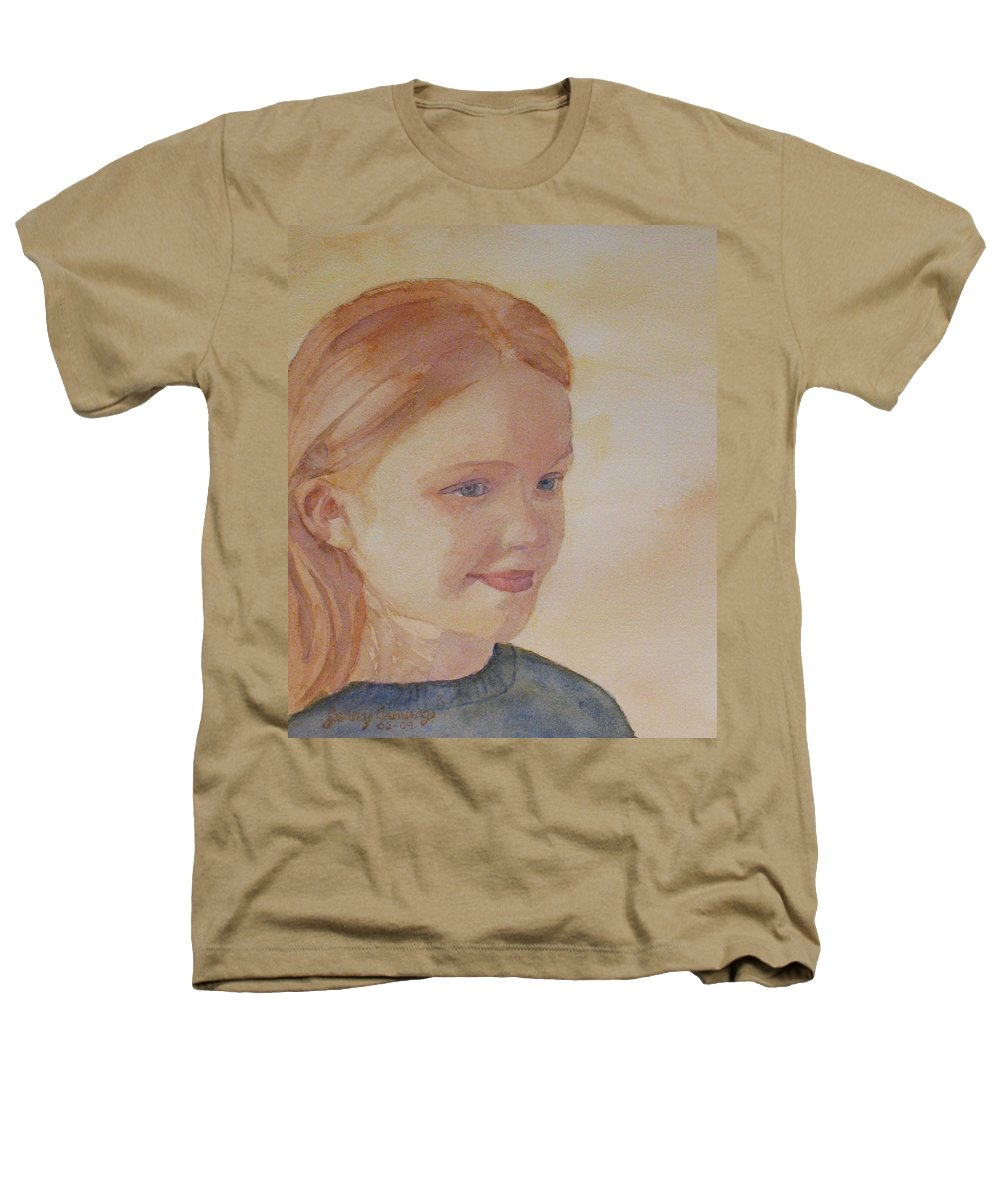 Girl Heathers T-Shirt featuring the painting Sunnie Birdie by Jenny Armitage