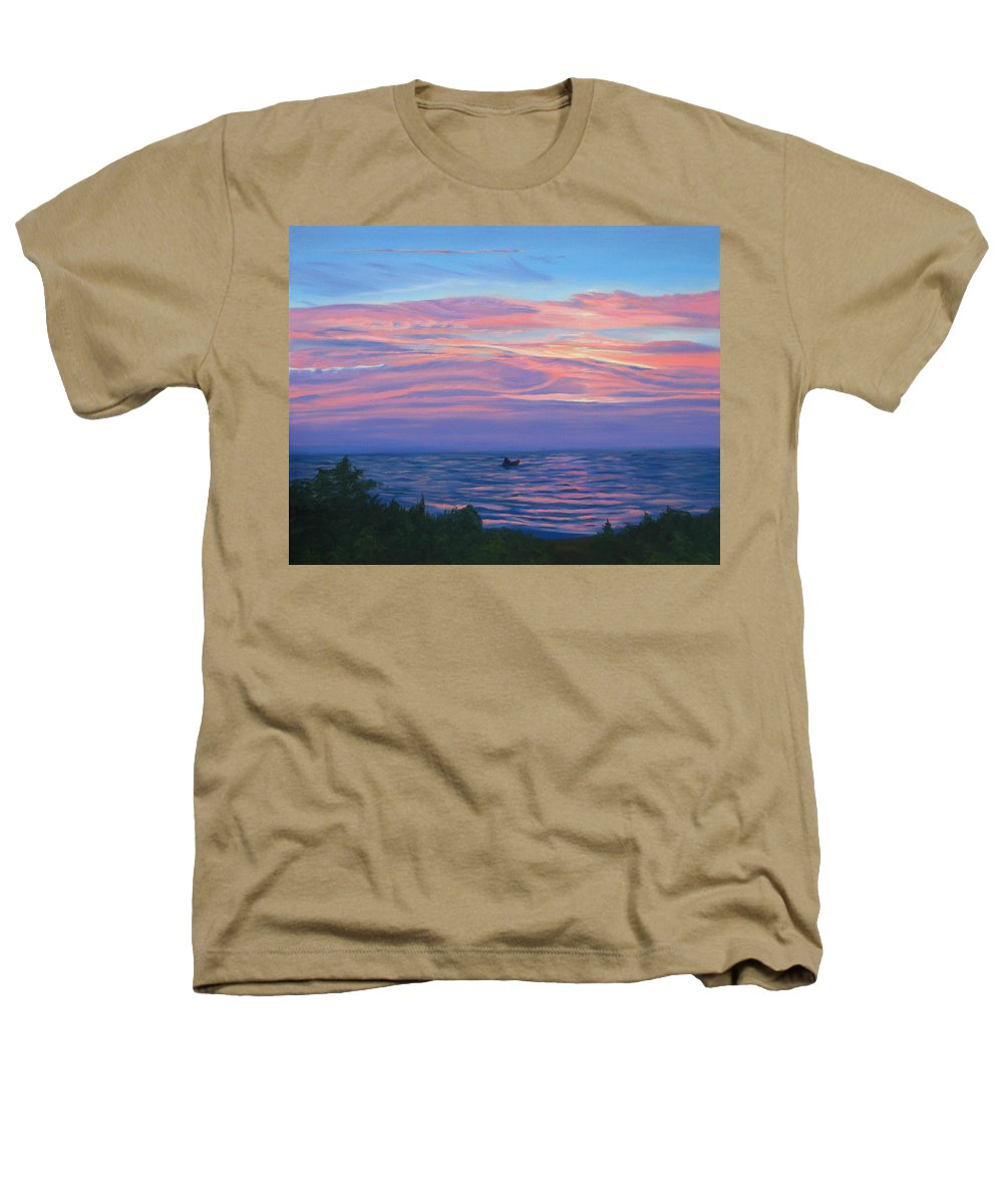 Seascape Heathers T-Shirt featuring the painting Sunset Bay by Lea Novak