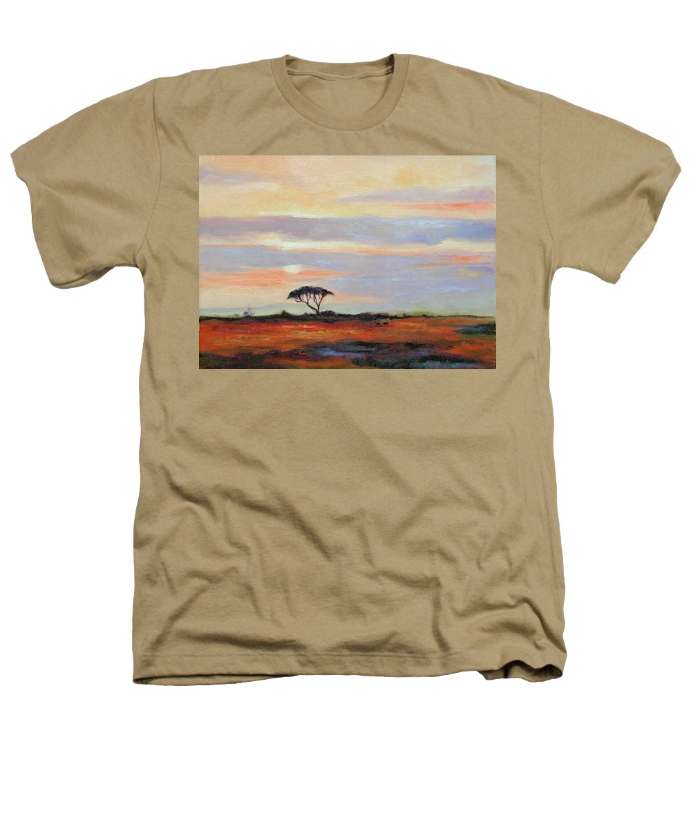 Landscape Heathers T-Shirt featuring the painting Sunset On The Serengheti by Ginger Concepcion