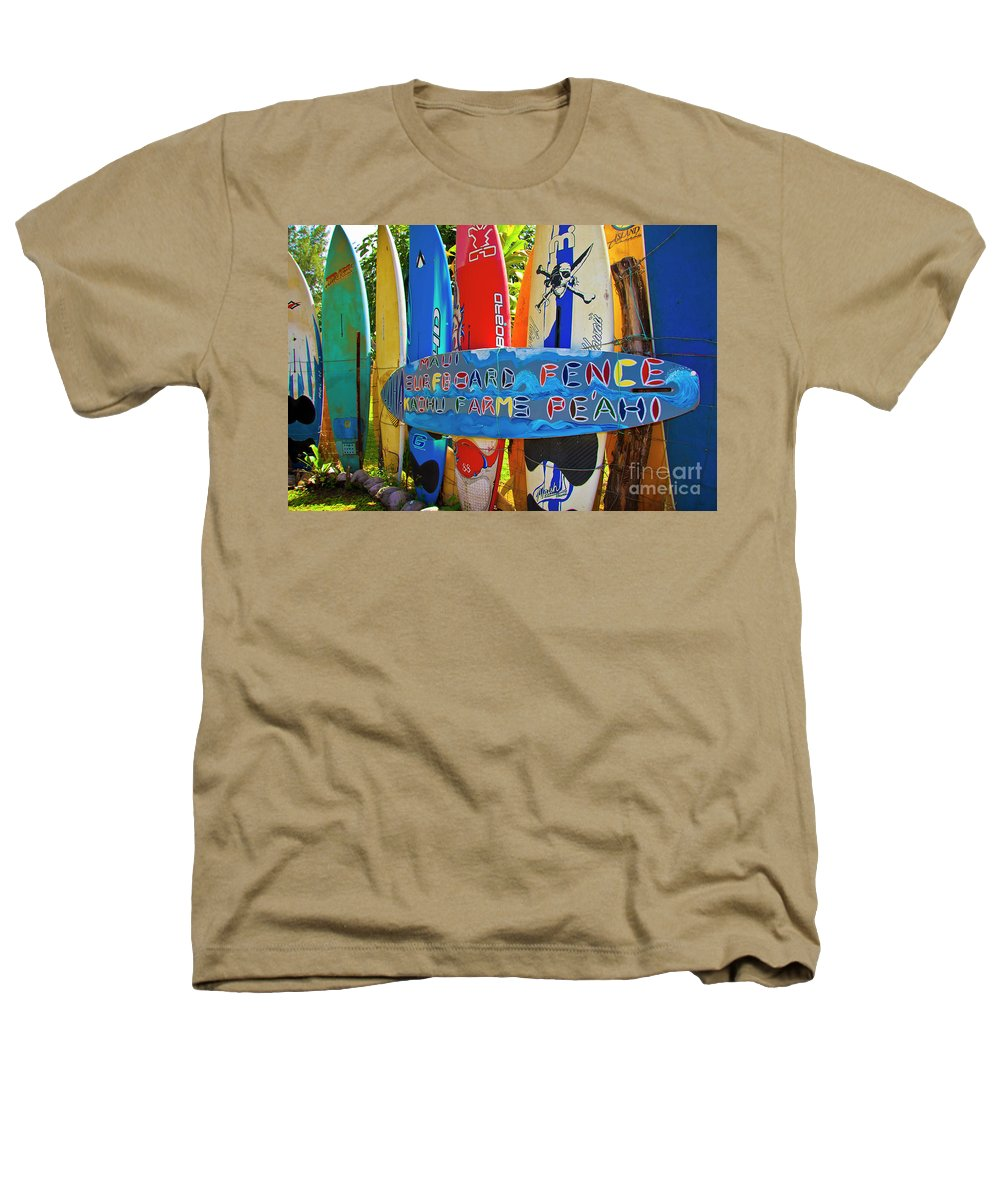 Surfboards Heathers T-Shirt featuring the photograph Surfboard Fence-the Amazing Race by Jim Cazel