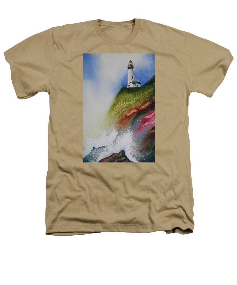 Lighthouse Heathers T-Shirt featuring the painting Surfside by Karen Stark