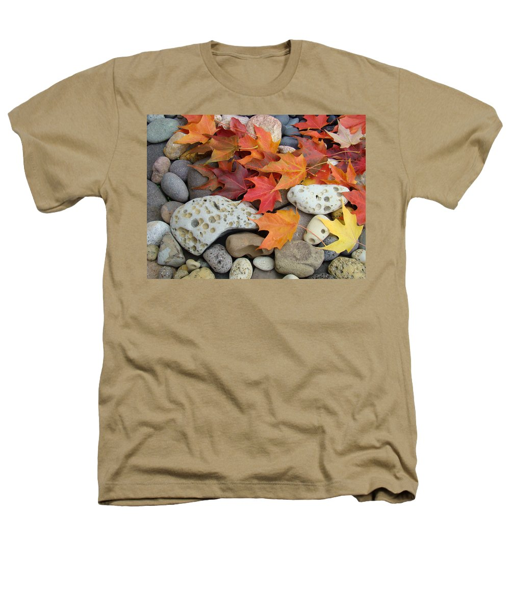 Art Heathers T-Shirt featuring the photograph Sweet Autumn 1 Autumn Leaves Rock Designs Photography Digital Art Prints by Baslee Troutman
