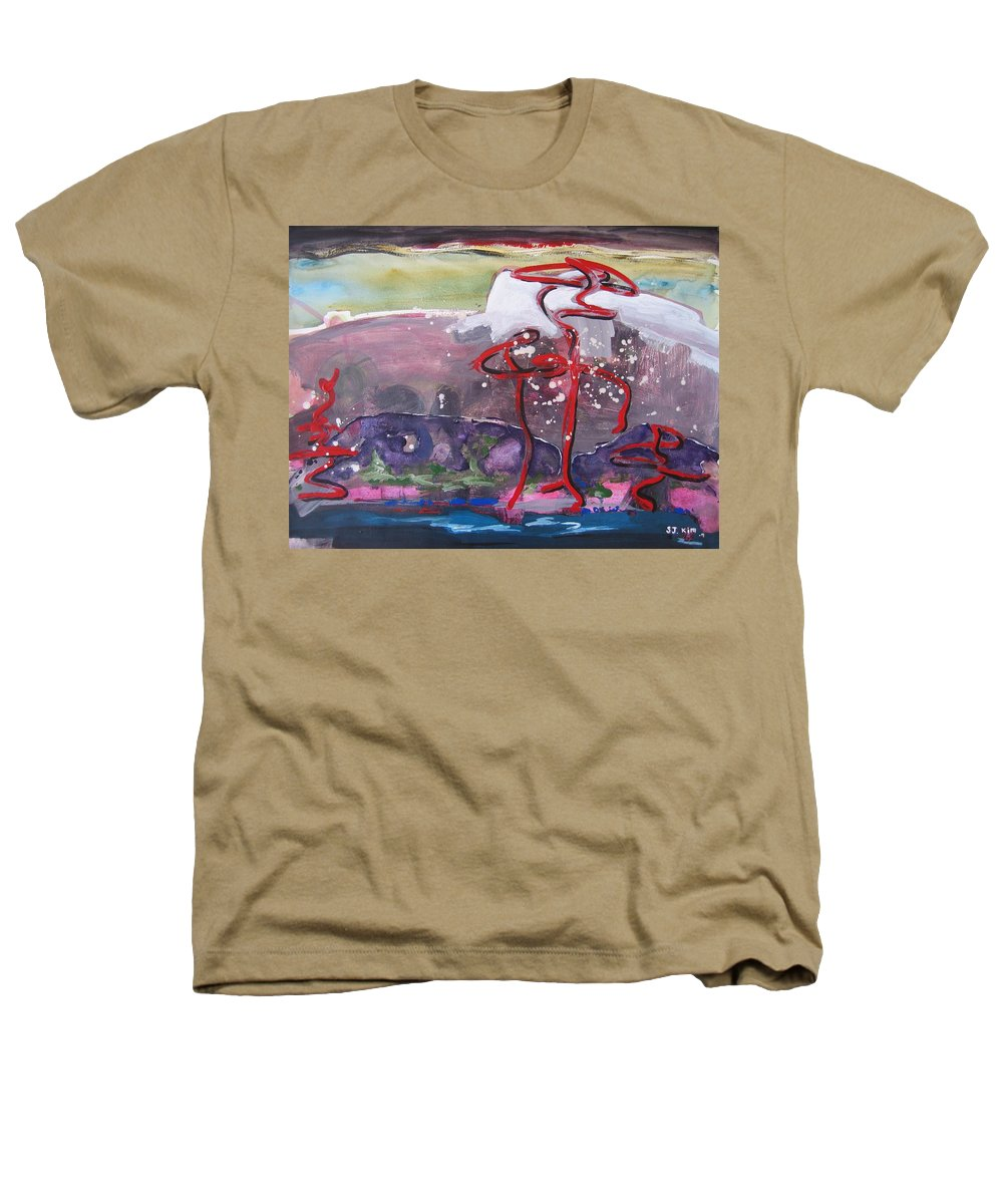Abstract Paintings Heathers T-Shirt featuring the painting Table Land3 by Seon-Jeong Kim
