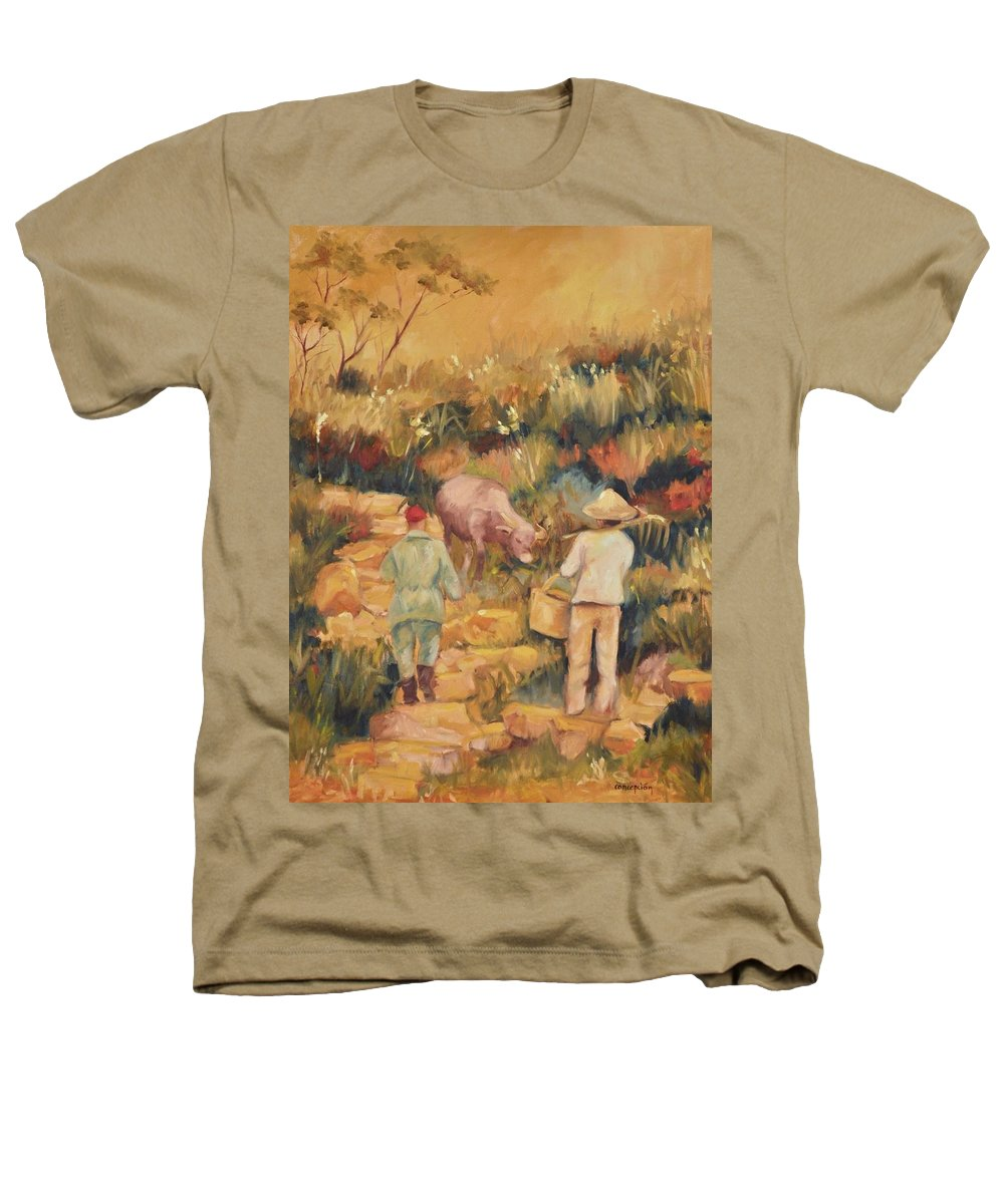 Water Buffalo Heathers T-Shirt featuring the painting Taipei Buffalo Herder by Ginger Concepcion