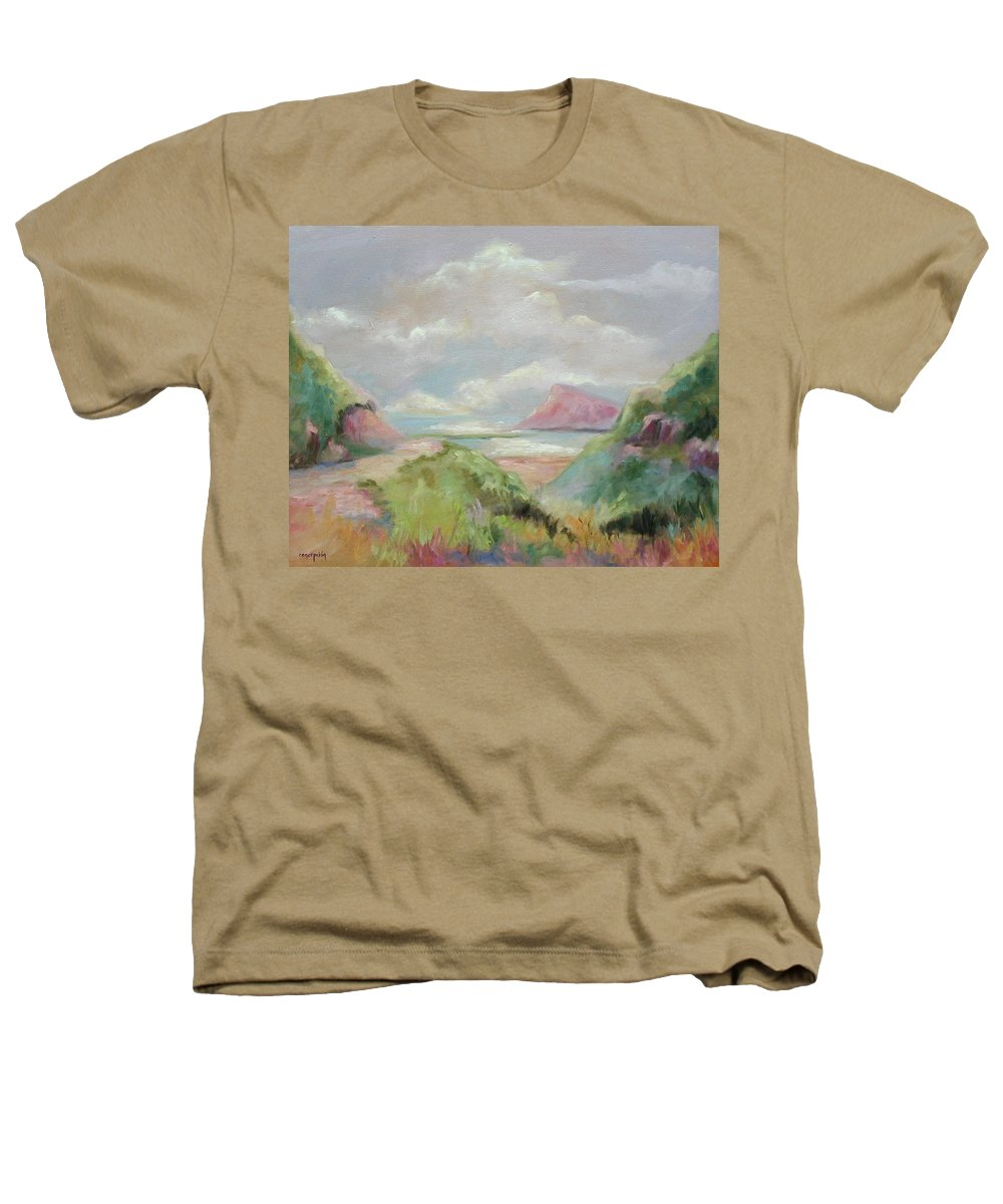 Seascape Heathers T-Shirt featuring the painting Taiwan Inlet by Ginger Concepcion
