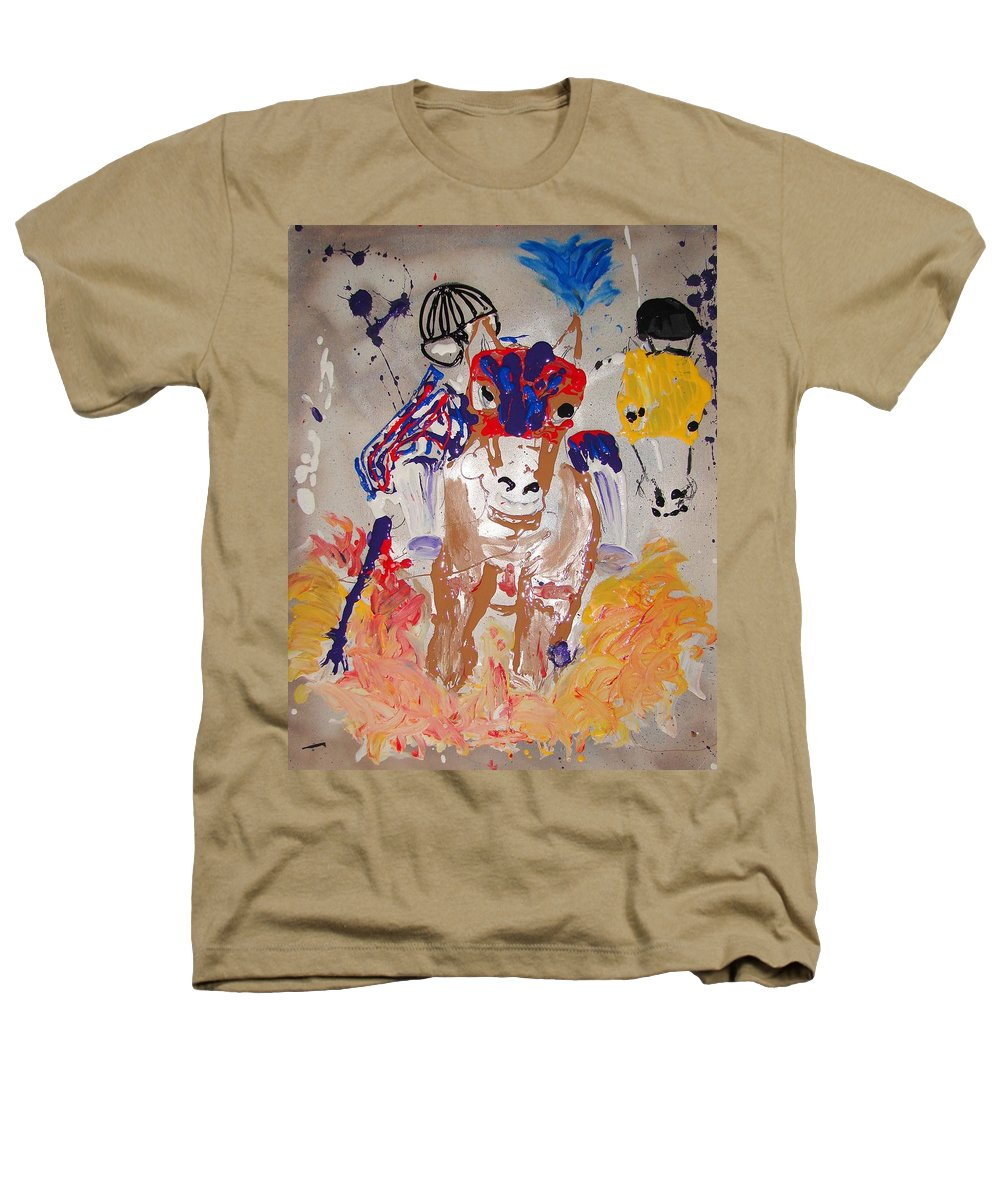 Horse Heathers T-Shirt featuring the mixed media Taking The Lead by J R Seymour