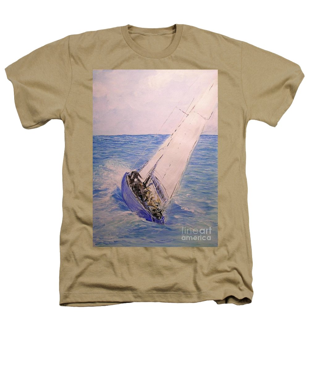 Seascape Heathers T-Shirt featuring the painting Tell Tails In The Wind by Lizzy Forrester