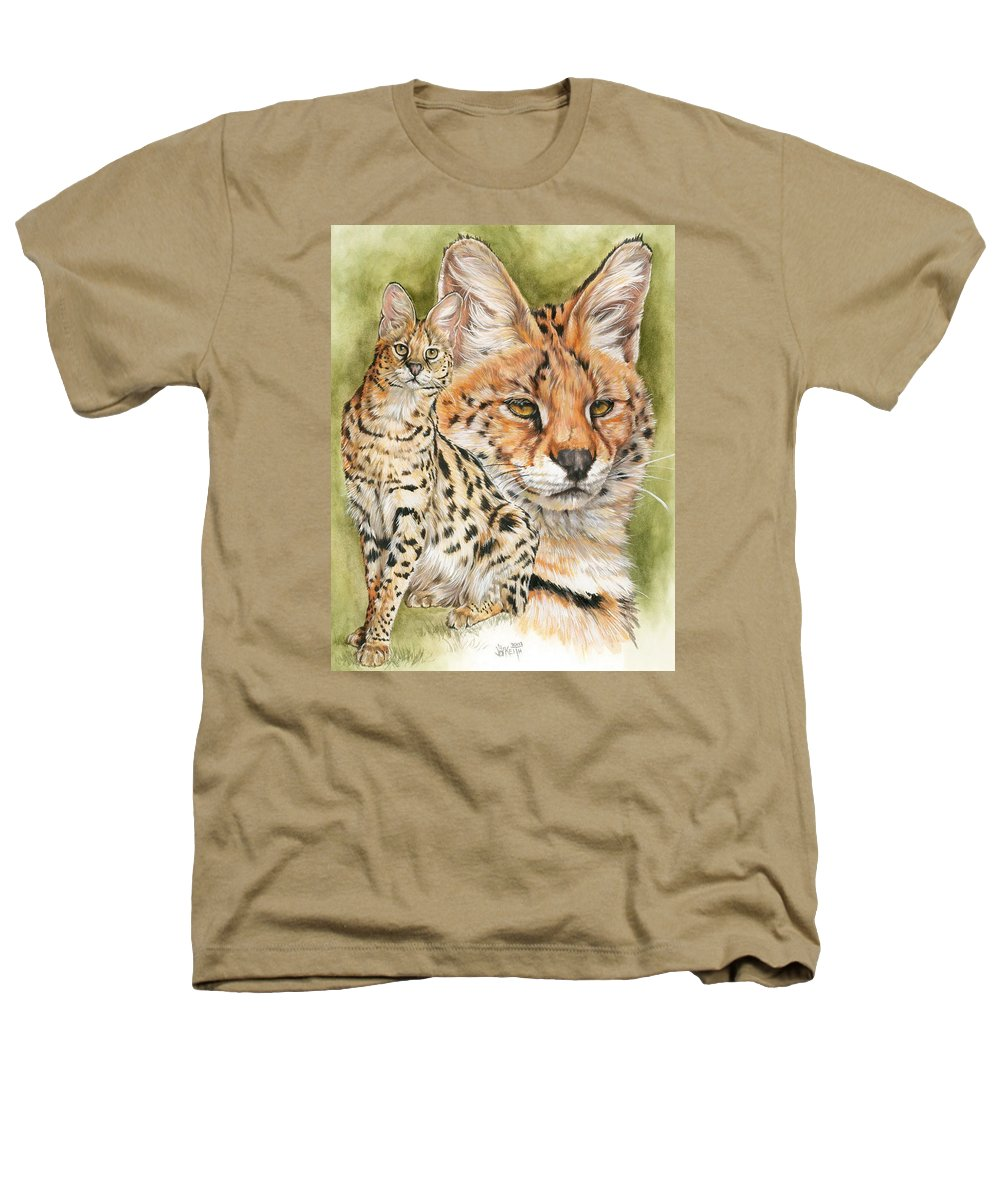 Serval Heathers T-Shirt featuring the mixed media Tempo by Barbara Keith