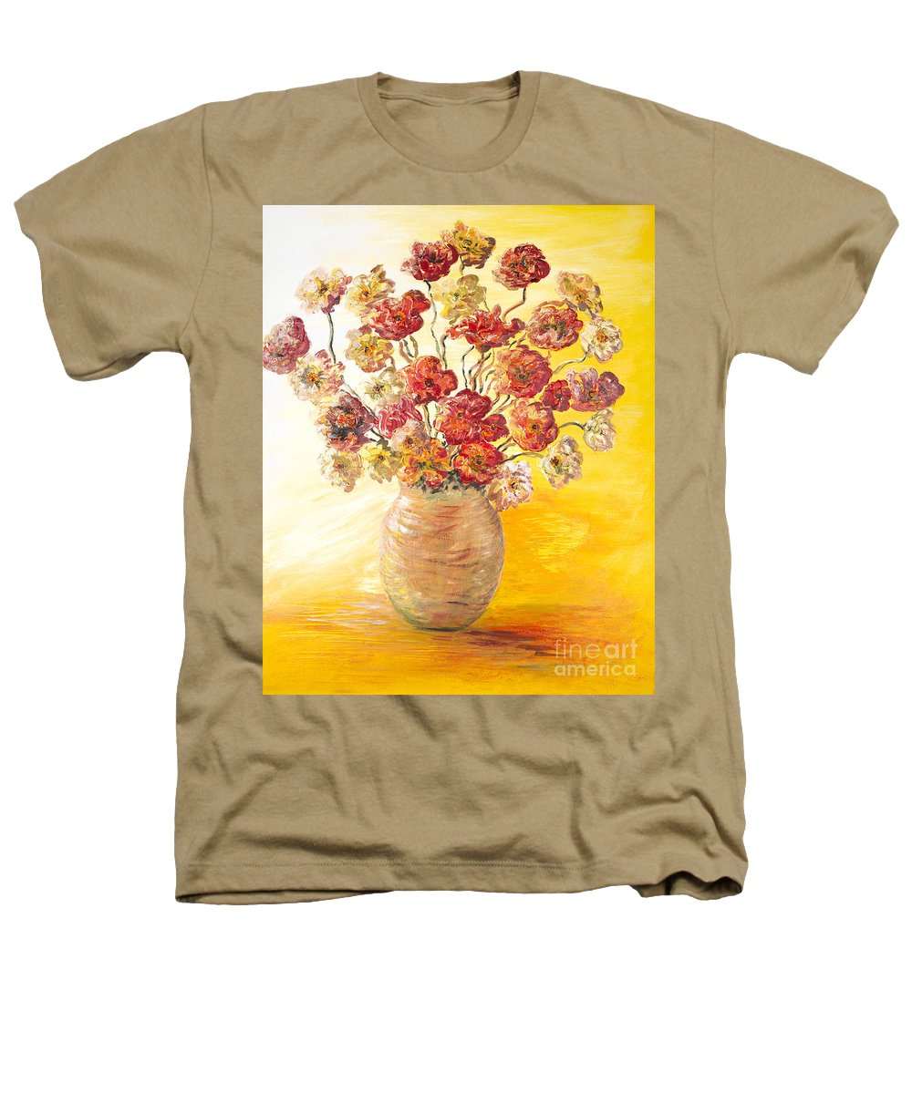 Flowers Heathers T-Shirt featuring the painting Textured Flowers In A Vase by Nadine Rippelmeyer