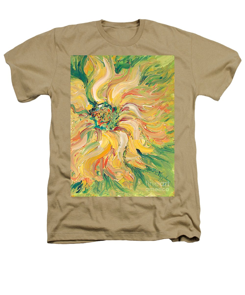Texture Heathers T-Shirt featuring the painting Textured Green Sunflower by Nadine Rippelmeyer