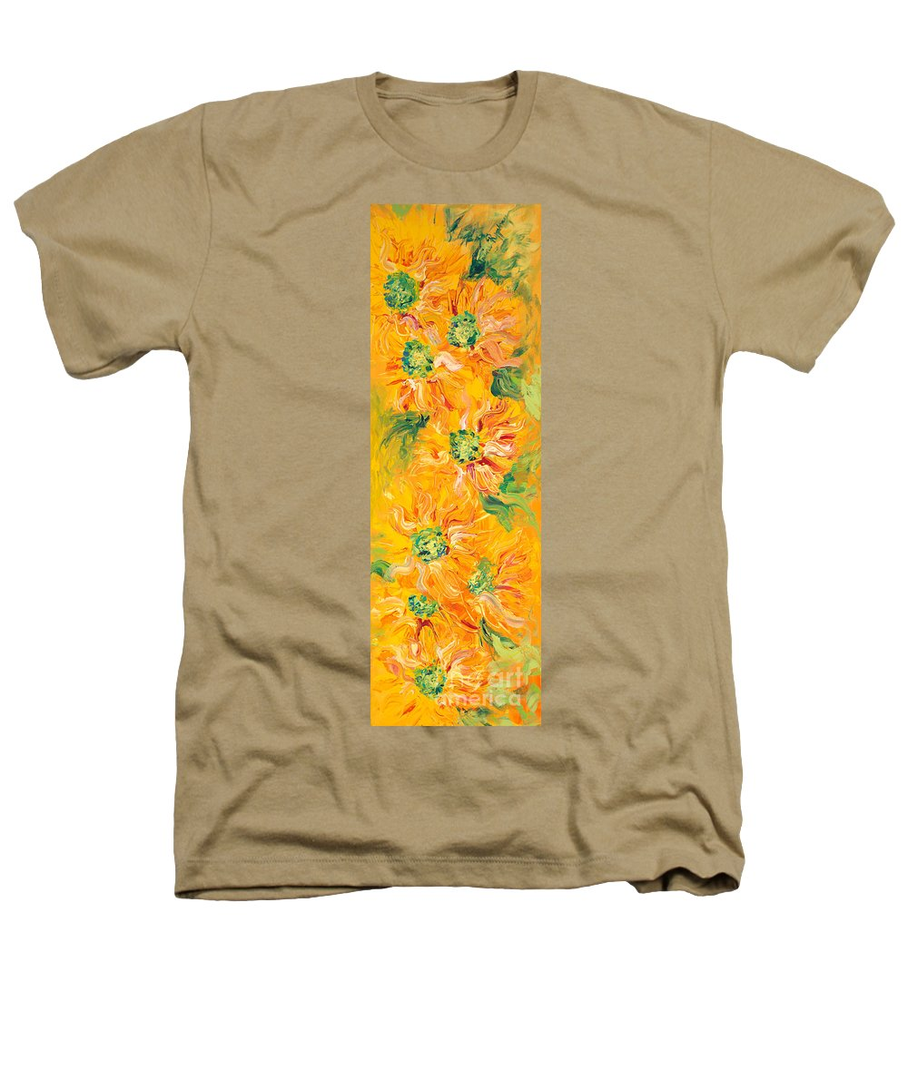 Yellow Heathers T-Shirt featuring the painting Textured Yellow Sunflowers by Nadine Rippelmeyer