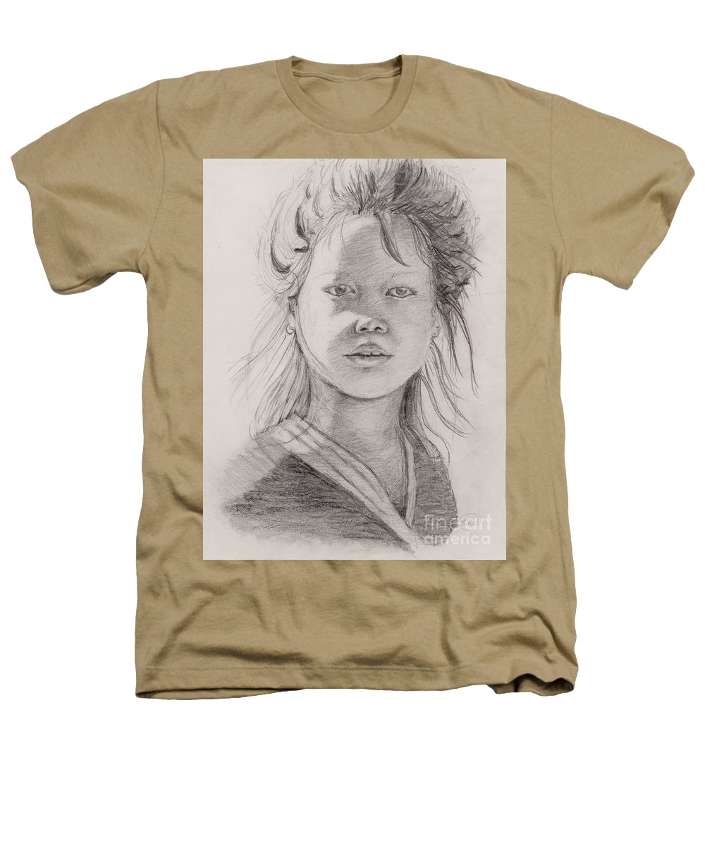 Portrait Heathers T-Shirt featuring the drawing Thai Beauty by Nadine Rippelmeyer