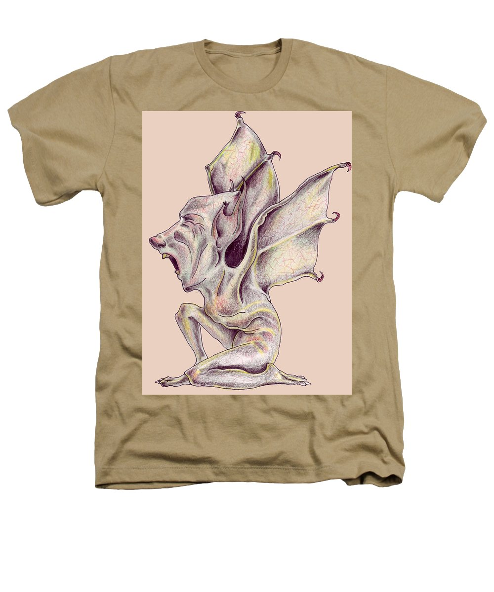 Bat Rat Man Drawings Color Pencil Heathers T-Shirt featuring the drawing That Bat Man Rat by Veronica Jackson